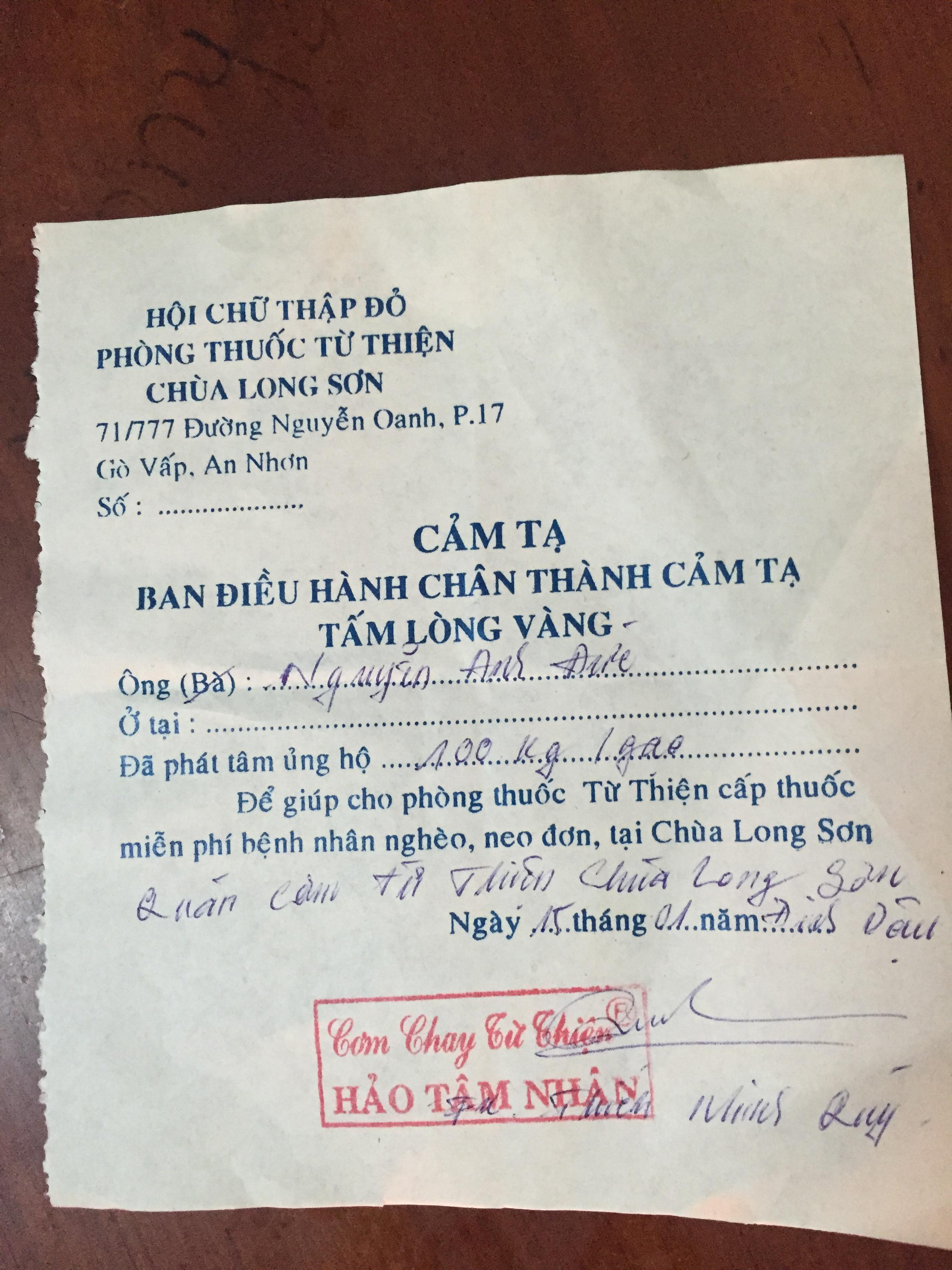 Phiếu công đức chùa Long Sơn