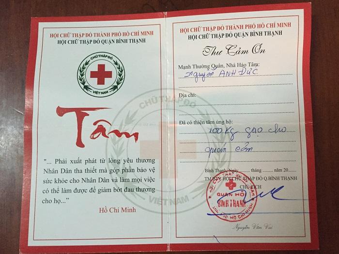 thư cảm ơn hội chữ thập đỏ quận bình thạnh