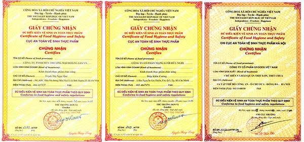 giấy chứng nhận gạo an toàn vệ sinh thực phẩm